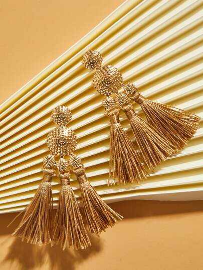 1pair Textured Tassel Drop Earrings