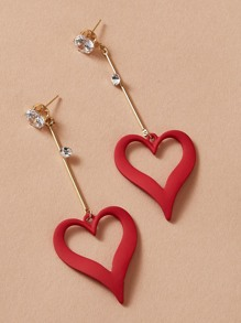 1pair Rhinestone Decor Heart Drop Earrings