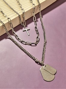 1pc Cross Charm Layered Chain Necklace