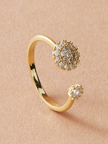 1pc Rhinestone Decor Cuffed Ring