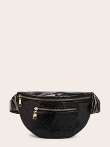 Croc Embossed Zipper Front Fanny Pack