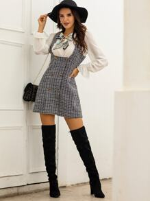 Double Button Tweed Suspender Dress