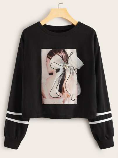 Figure Graphic Bow Detail Side Striped Sweatshirt