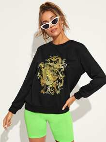 Dragon Print Round Collar Sweatshirt
