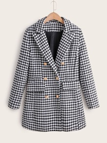Houndstooth Double Breasted Lapel Tweed Blazer
