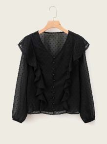Swiss Dot Ruffle Trim Button Through Blouse