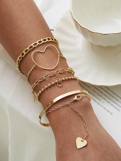 Heart Decor Chain Bracelet 6pcs