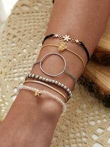 Bee & Ring Decor Chain Bracelet 6pcs