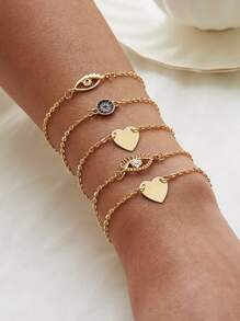 Eye & Heart Decor Chain Bracelet 5pcs