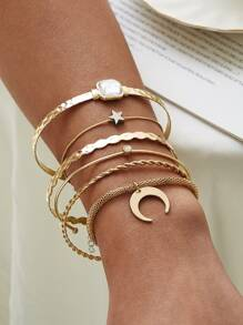 Moon & Star Decor Bracelet 6pcs