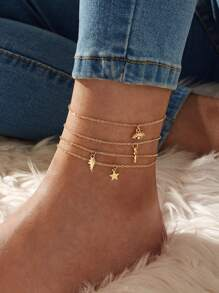 Eye & Key Charm Chain Anklet 4pcs