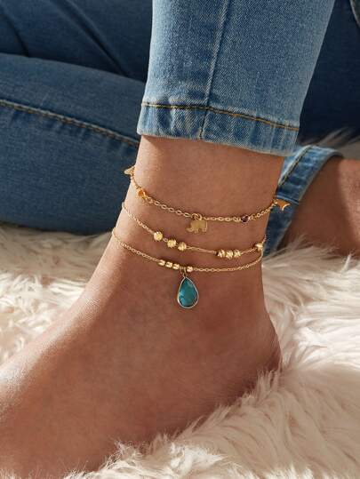 Elephant & Waterdrop Decor Chain Anklet 3pcs
