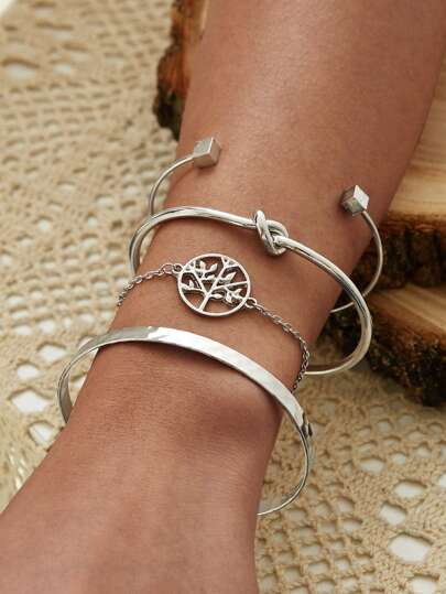 Round Tree Decor Chain Bracelet 4pcs