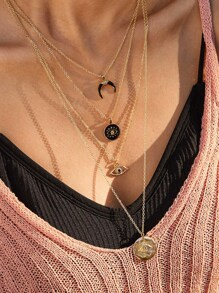 1pc Eye & Moon Charm Layered Necklace