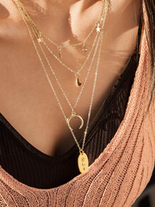 1pc Moon & Geometric Charm Layered Necklace