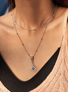 1pc Sunflower Charm Layered Necklace