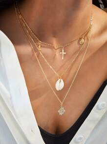 1pc Coin & Cross Charm Layered Necklace