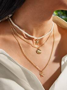 1pc Starfish & Shell Charm Layered Necklace