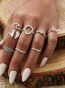 Heart Decor Ring 8pcs