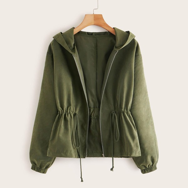 Zip Up Drawstring Hooded Jacket, Army green