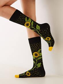 Sunflower Pattern Socks 1pair