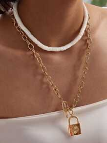 Lock & Ring Decor Chain Necklace 2pcs