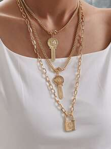 Lock & Key Layered Chain Necklace 1pc