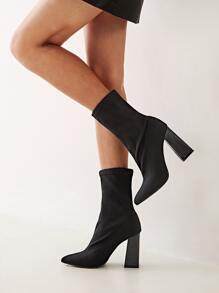 Point Toe Chunky Heeled Boots
