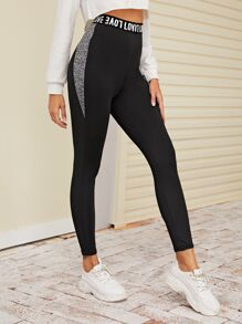 Letter Graphic Tape Waist Leggings
