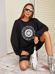 Graphic Drop Shoulder Oversized Sweatshirt