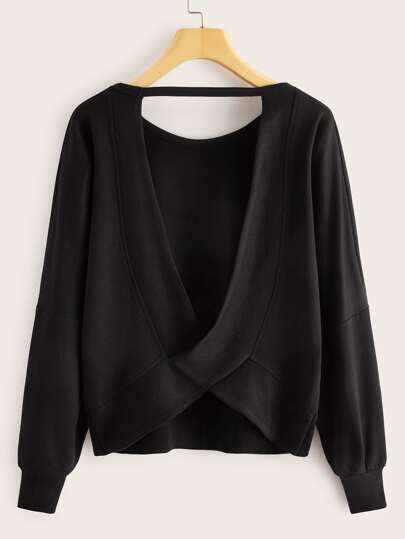 V-cut Back Drop Shoulder Sweatshirt