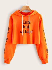 Neon Orange Letter Graphic Hoodie
