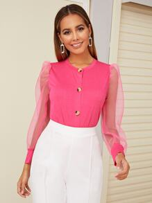 Button Front Contrast Mesh Puff Sleeve Top