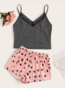 Heart Print Lace Trim Cami PJ Set