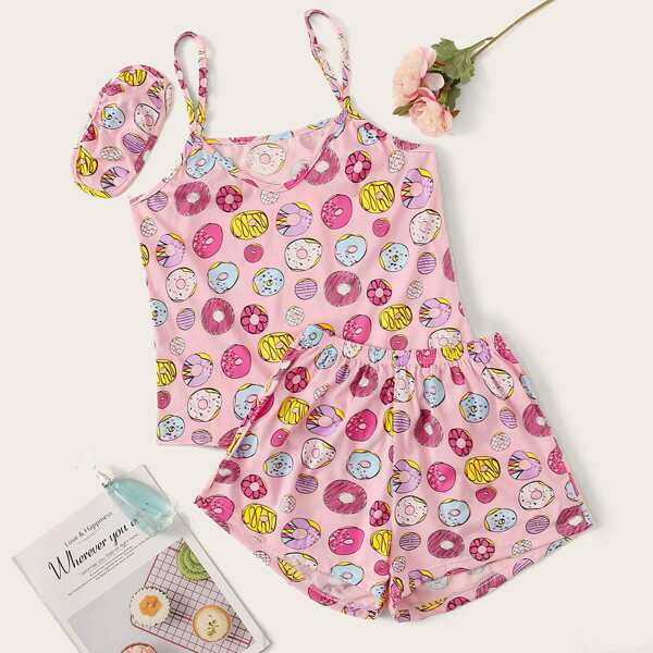 Donut Print Cami PJ Set With Eye Cover, Pink