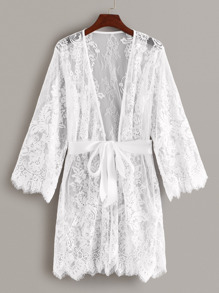 Floral Lace Sheer Robe With Belt