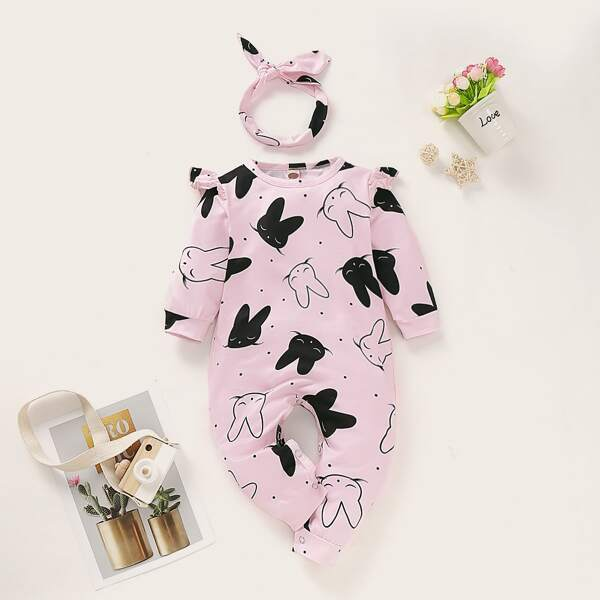 Baby Girl Allover Rabbit Print Frill Trim Jumpsuit With Headband, Baby pink