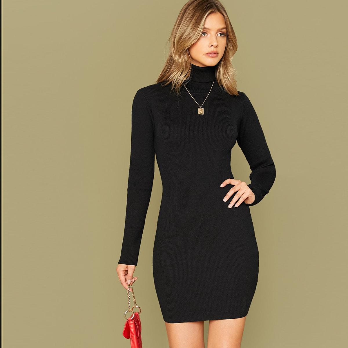 Однотонное свитер-платье без колье SheIn swdress07190801072