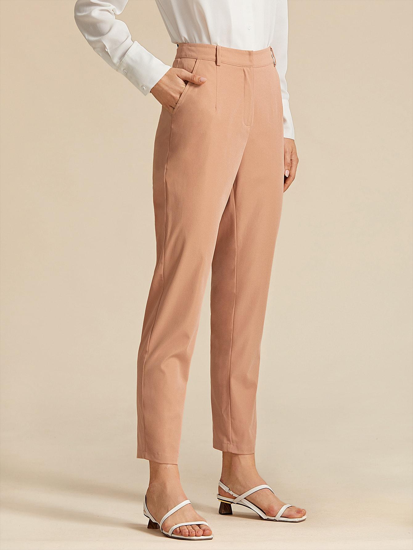 Premium Pantalones unicolor de lado con bolsillo con ...