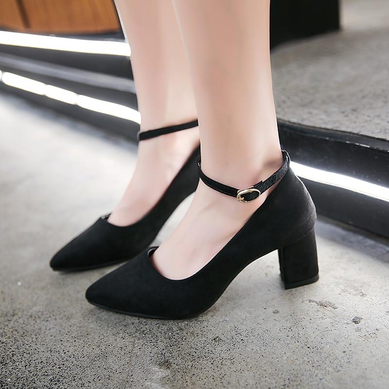 Чёрный Одноцветный Деловый стиль  Каблуки от SHEIN