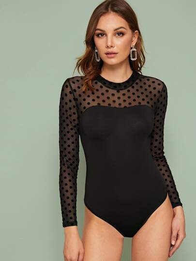Dobby Mesh Panel Slim Bodysuit