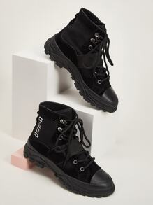 Lace-up Flat Chunky Sole Suede Boots