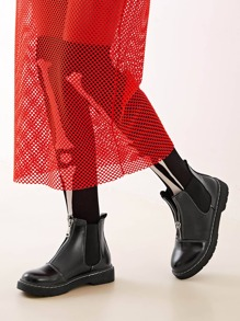 Cap Toe Zipper Front Ankle Boots
