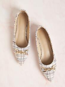 Point Toe Tweed Ballet Flats