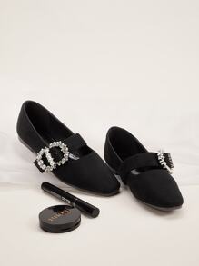 Rhinestone Decor Buckle Strap Flats
