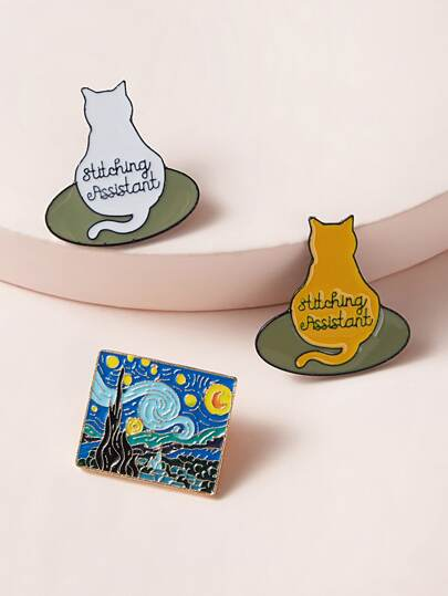 3pcs Cat & Starry Sky Painting Design Brooch