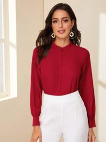 Frill Trim Covered Button Blouse