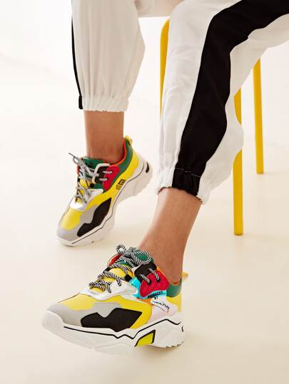 Colorblock Lace-up Chunky Sole Trainers