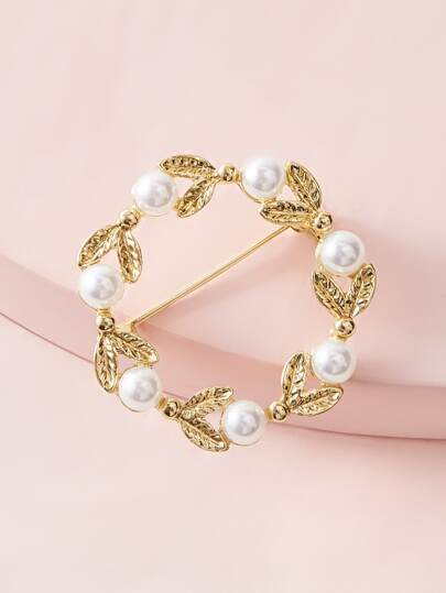 1pc Pearl Decor Leaf Shaped Brooch