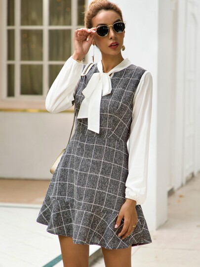 Tie Neck Contrast Panel Plaid A-line Dress